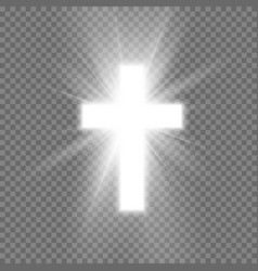 White cross with glow symbol christianity vector