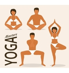 Woman and man are doing yoga vector