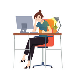 Woman or an accountant in a suit fell asleep vector