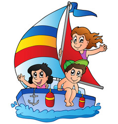 Yacht with three kids vector