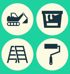 building icons set collection of stair paint vector image vector image