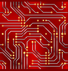 Computer microchip seamless pattern on red vector