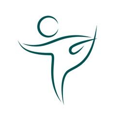 Emblem Yoga pose isolated on white vector image