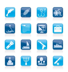 Fishing industry icons vector image