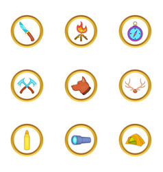 hunt camp icons set cartoon style vector image