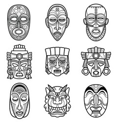 indian aztec and african historic tribal mask vector image