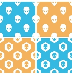 Alien pattern set colored vector image