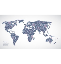 Beautiful Floral world map vector image