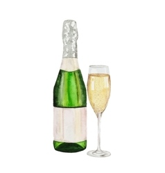 Champagne bottle and champagne glass watercolor vector image