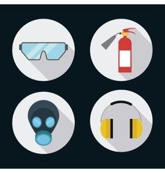 Extinguisher mask glasses headphone icon vector image