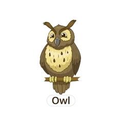 Forest owl bird cartoon vector image