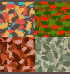 set of usa shape camo seamless pattern colorful vector image vector image