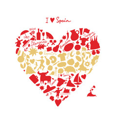 spain love art heart shape sketch for your vector image
