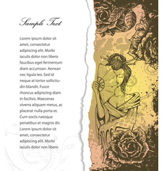 torn cardboard with roses and geisha vector image vector image