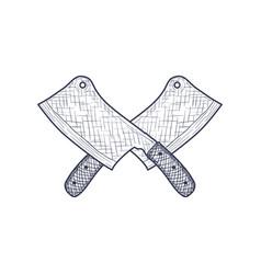 vintage cleaver butcher crossed knife engraved vector image vector image