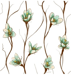 Vintage Flowers Seamless Pattern Background vector image vector image