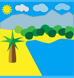 beach by the ocean with palm and blue sky vector image