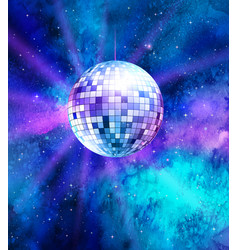 disco ball on space background vector image vector image