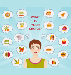food culture healthy and unhealthy diets vector image