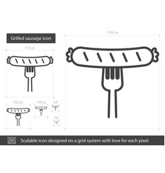 Grilled sausage line icon vector