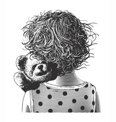 Little girl with teddy bear in engraving style vector image vector image