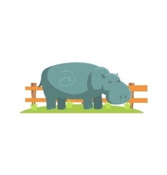Relaxed Grey Hippo Standing On Green Grass Patch vector image vector image