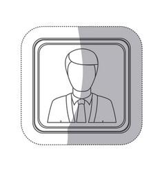 Sticker monochorme silhouette square button with vector