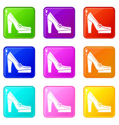 women shoes on platform icons 9 set vector image vector image
