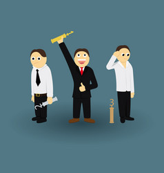 businessman contest successful winner with trophy vector image vector image