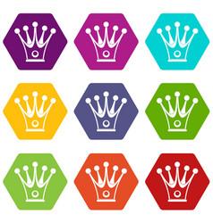 Crown icon set color hexahedron vector