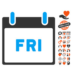friday calendar page icon with dating bonus vector image vector image