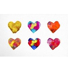 Watercolor heart love set vector image