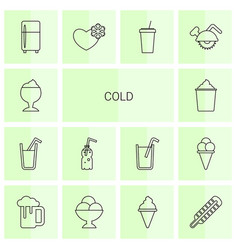 14 cold icons vector