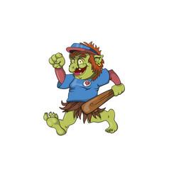 A baseball troll running happy vector