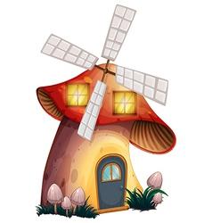 A mushroom house with windmill vector