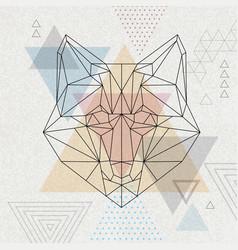 Abstract polygonal tirangle animal fox hipster vector