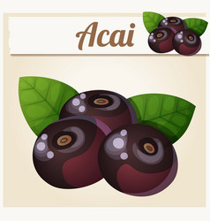 acai berries cartoon icon vector image