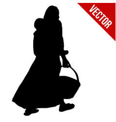 African woman silhouette carrying her son on back vector