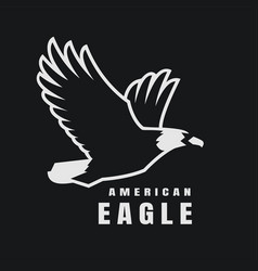 american eagle flying bird logo symbol on a dark vector image