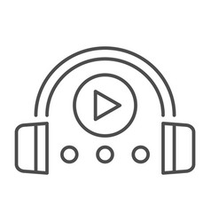 Audio course thin line icon headphones and play vector