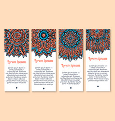 Banners set of paisley or mandala pattern vector