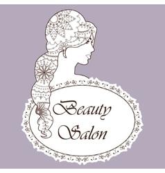 Beauty salon backgrondwith girl painted hair brown vector