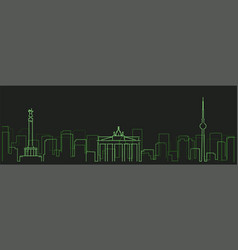 Berlin futurist technology light trace skyline vector