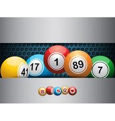 Bingo balls ovea blue metallic plate vector