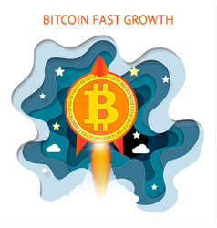bitcoin is fast growing cryptocurrency financial vector image