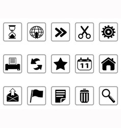 black Toolbar and Interface icons buttons vector image