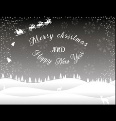 black white christmas card winter forest vector image