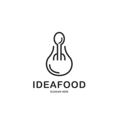 Bulb and restaurant idea food logo design vector