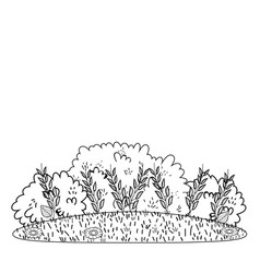 Bushes grass cute cartoon outdoors in black and vector