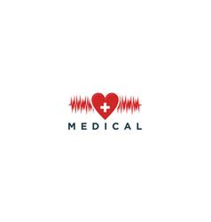 Cardiogram medical logo design - hearth vector
